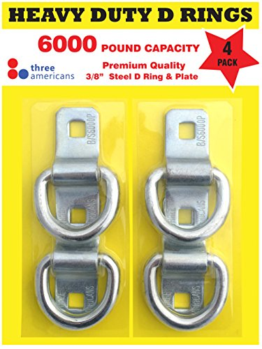 D Rings - Heavy Duty 4 Pack 6000 Pound Breaking Strength. Super Strong Forged Steel, Surface Mounted for Tying Down Motorbikes, ATV's, Golf - Bike Mounted Bar Tow Carrier