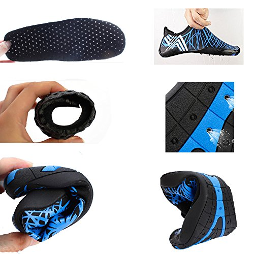 YIRUIYA Frauen Männer Quick-Dry Barfuß Wasser Schuhe Haut Aqua Socken Mit Entwässerung Löcher ¡ Schwarz1
