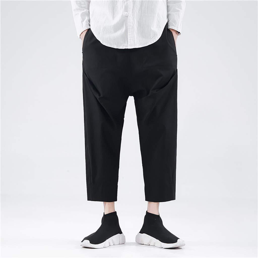 MEN/'S COTTON Goth Pocket Harem Pants Hip Hop Pantalon Cargo Jogging Noir