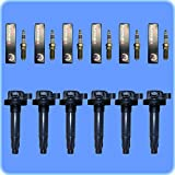 Set of (6) Bosch Spark Plugs + (6) AD AutoParts Premium High Performance Ignition Coils For Ford Lincoln Mercury UF553
