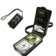 Outdoor Multifunction 10 in 1 Military Camping Survival Compass With Hygrometer Led Light Thermometer magnifying glass whistle Flint Fire Starter