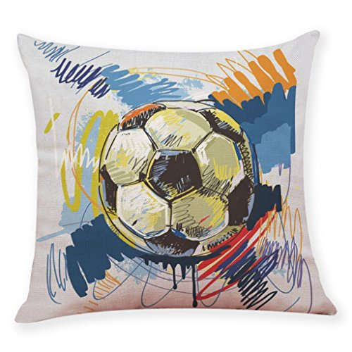 Home Decor Cushion Cover Football Soccer Throw Pillowcase Pillow Covers World Cup (G) by Bookear Pillowcase (Image #1)