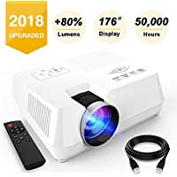 Visoud Mini Portable Projector, 2200 Lumen Full HD LED Video Projector Compatible with Fire TV Stick, HDMI, VGA, USB, AV, SD for Home Theater Entertainment