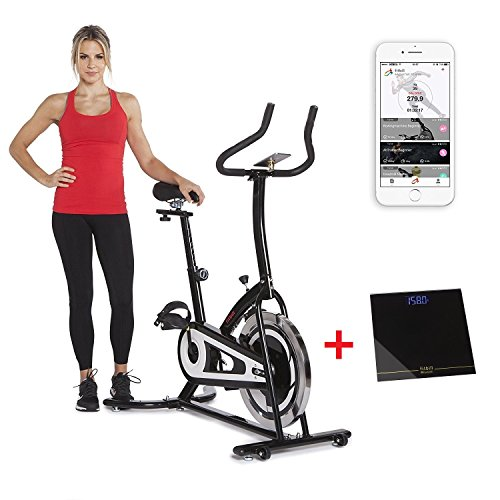 Smart Exercise Bike with Speed Sensor, Bluetooth Scale & Free Workout App – Indoor Cycling Training, Upright Stationary Bike
