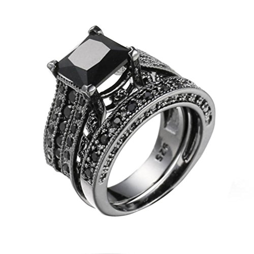 Price comparison product image HIRIRI Hot Sale Fashion Jewelry 2-in-1 Women's Vintage White Diamond Silver Engagement Wedding Band Ring Set (6,  Black)