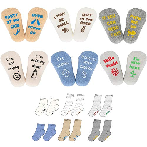 Baby Socks Gift Set, Shower Gifts Newborn Funny Present, 6 Pair, For 0-12 Months (unisex) (Best Gifts For Infants)