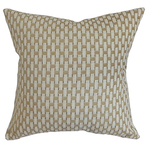 The Pillow Collection Barberry Geometric Gray Down Filled Th