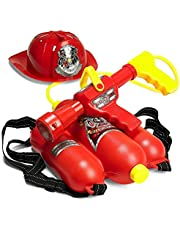 Prextex Fireman Backpack Water Shooter & Blaster with Fire Hat- Water Gun Beach Toy & Outdoor Sports Toy