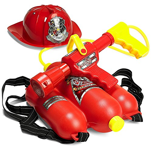(Prextex Fireman Backpack Water Shooter and Blaster with Fire Hat- Water Gun Beach Toy and Outdoor Sports)