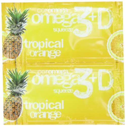 Coromega Omega3 Squeeze with Vitamin D3, Tropical Orange, 90 Count (Pack of 3) by Coromega