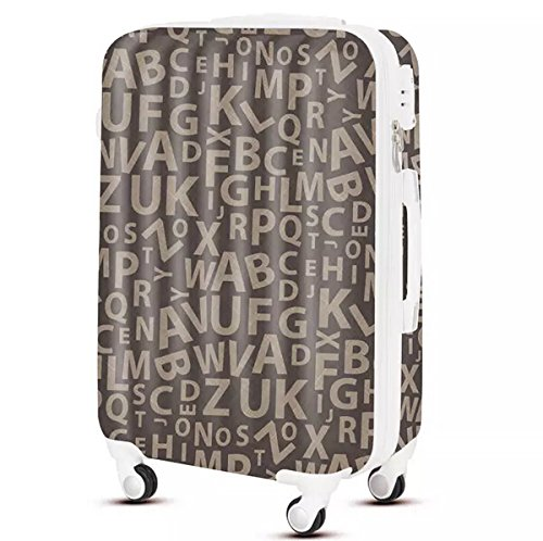 14'' 18'' 20'' 4-Wheel Hard Shell Suitcase Letters Print Coffee PPX-TY118 (14'')