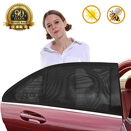 Car Sun Shade - Car Window Shade,Premium Breathable Mesh Sun Shield Protect Baby/Pet from Suns Glare & Harmful UV Rays,Fit for Most Small and Medium Cars (2pcs/Pack,Medium Size)