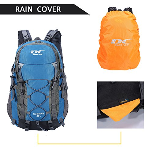 Diamond Candy Hiking Backpack 40L Waterproof Outdoor Lightweight Travel Backpacks for Men and Women with Rain Cover, Bag for Mountaineering Camping Climbing Cycling Fishing (Blue) by Diamond Candy (Image #5)