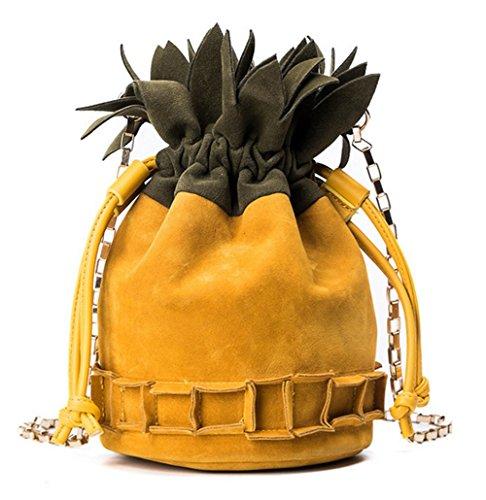 Rrock Bolso del Bolso De La Cruz De La Forma De La Piña De La Bolsa De Hombro De Las Mujeres Bolso Cruzado Diagonal del Bolso del Bolso De La Personalidad del Color del Contraste,Yellow