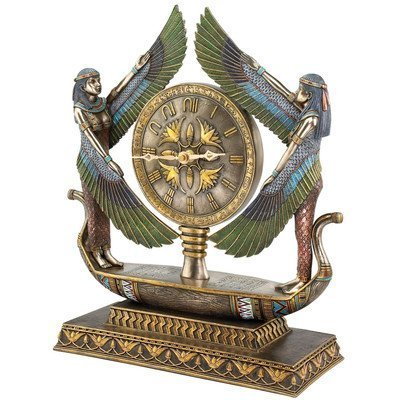 - Design Toscano Wings of Isis Egyptian Revival Desk Mantel Clock Statue, 16 Inch, Faux Bronze