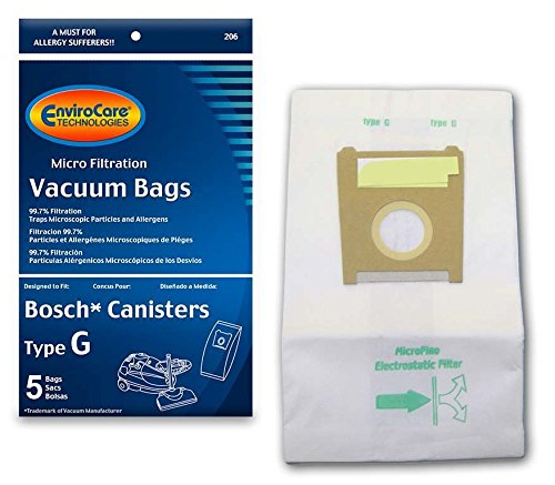 - EnviroCare Replacment Vacuum Bags for Bosch Type G Compact Series and Formula Series Canisters. 5 Pack