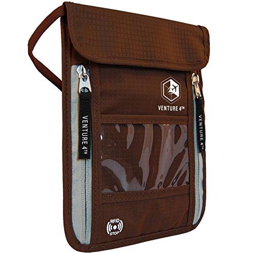 - Venture 4th Passport Holder Neck Pouch With RFID - Safety Passport Pouch (Brown)