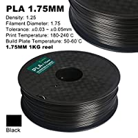 Century 3D PLA Printer Filament 1.75mm 1kg spool 2.2 pounds Dimensional Accuracy +/- 0.05 mm (Black) from Century Products