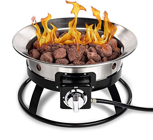Stainless Steel Portable Propane Gas Fire Pit - 19 inch Stainless Steel Fire Bowl & Burner Outdoor Gas Portable Fire Pit Kit with Cover & Lava Rocks - Ideal for RV Camping Backyard