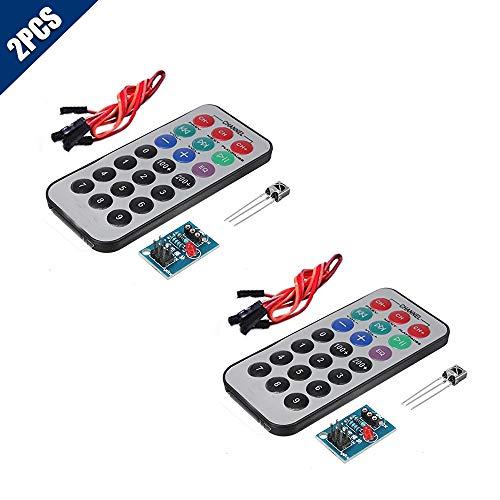 KOOBOOK 2Sets HX1838 NEC Infrared IR Wireless Remote Control Sensor Module IR Receiver Module DIY Kit for arduino