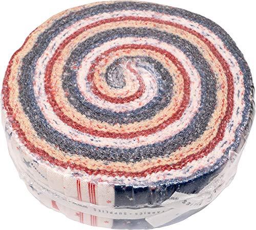 Primitive Gatherings Star & Stripe Gatherings Honey Bun 40 1.5-inch Strips Moda Fabrics 1260HB (Fabric Vintage Patriotic)