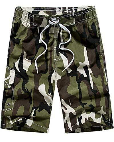 MACHLAB Men's Camouflage Printing Quick Dry Beach Board Shorts Swim Trunks Green XL