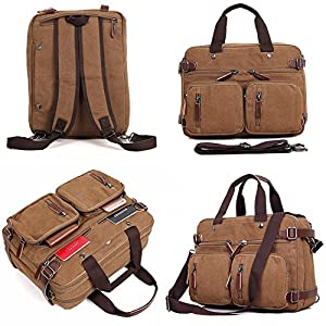 Clean Vintage Laptop Bag Hybrid Backpack Messenger Bag/Convertible Briefcase Backpack Satchel for Men Women- BookBag Rucksack Daypack-Waxed Canvas Leather, Brown