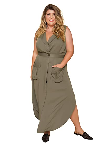 Women Plus Size Casual Button Down Maxi Trench Coat Wind Coat with ...