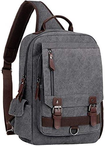 WOWBOX Sling Bag for Men Women Sling Backpack Laptop Shoulder Bag Retro Canvas Crossbody Messenger Bag Fit 13.3 Laptop Tablet