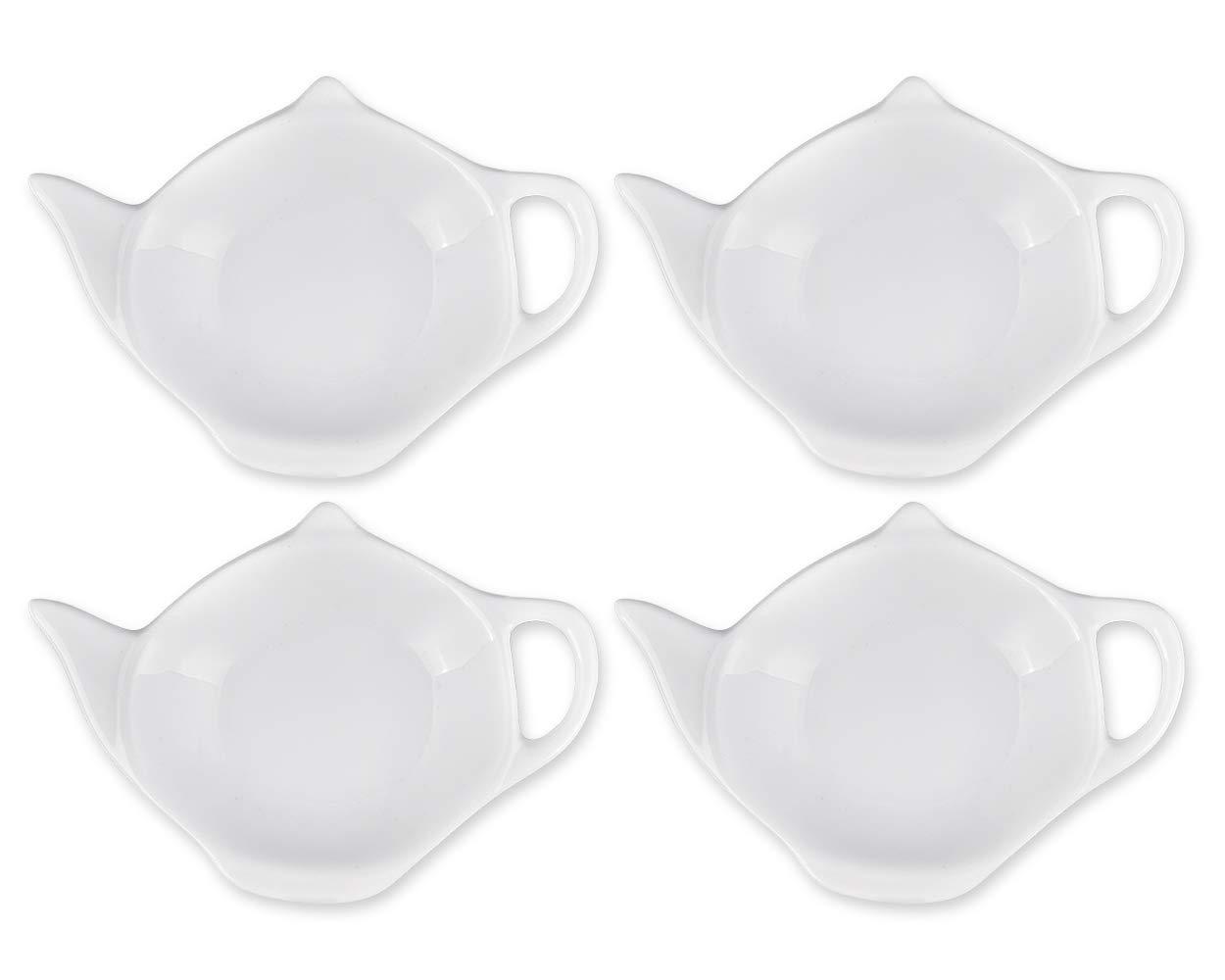 ACE SELECT 4 Pieces Teapot Shaped Tea Bag Holder Teabag Coaster Seasoning Dish for Sauce Dessert (White - Ceramic)