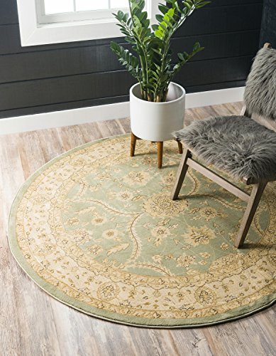 Unique Loom Edinburgh Collection Oriental Traditional French Country Light Green Round Rug (8' x (Green 8' Round Rug)