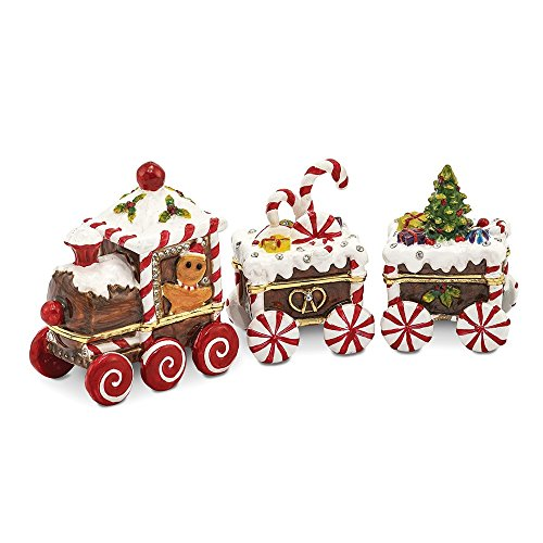 Jere Luxury Giftware Bejeweled Candy Cane Train, Pewter with Enamel Collectible Trinket Box with Matching Pendant Necklace