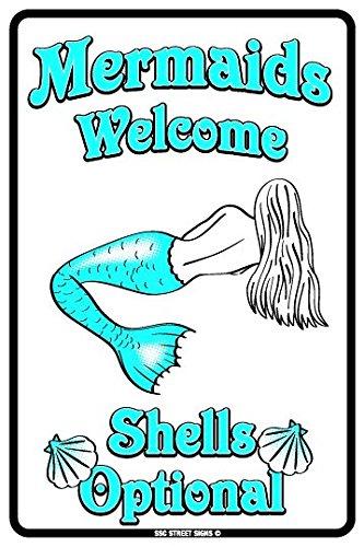 Mermaids Welcome Shells Optional Aluminum Tin Metal Poster Sign Wall Decor (Blue Tin Sign)