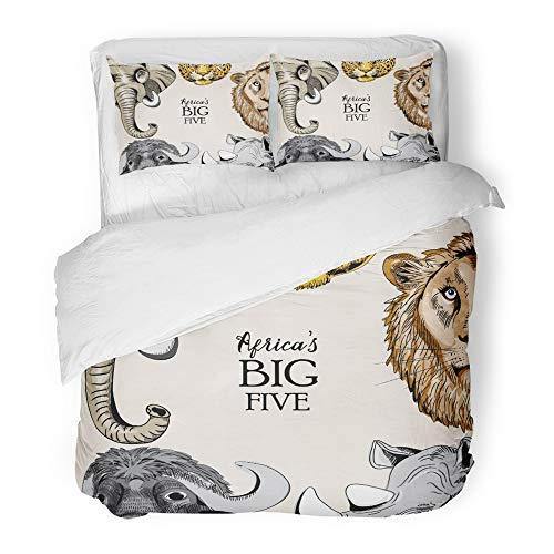 Emvency 3 Piece Duvet Cover Set Brushed Microfiber Fabric Breathable Orange Africa Collection of Animals from Africa's Big Five on Light Brown Rhino Bedding Set with 2 Pillow Covers Full/Queen Size