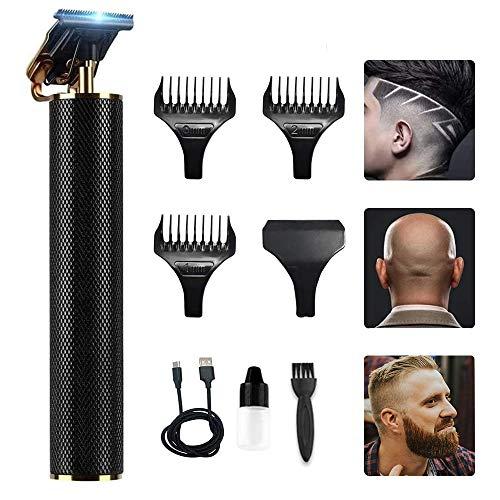 🥇 Cortapelo Eléctrico Pro Li Cortadora Perfila Recargable Inalámbrica T-Cuchilla Recortadora para Hombres de Barba con Peine-guía