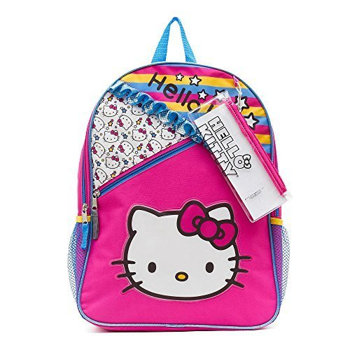 Hello Kitty Pattern Backpack with Side Pockets Pencil Case and -