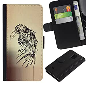 A-type (Crow Ink Tattoo Sketch Death Metal) Colorida Impresión Funda Cuero Monedero Caja Bolsa Cubierta Caja Piel Card Slots Para Samsung Galaxy S5 Mini (Not S5), SM-G800
