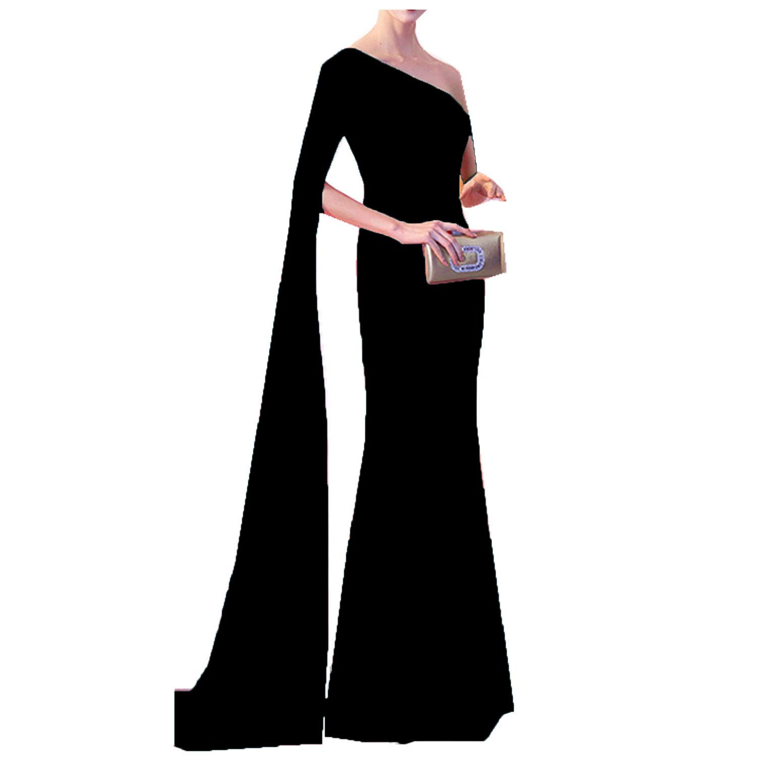 Black Ruiyuhong Women's Sexy One Super Long Sleeve Evening Dress Slit Evening Gown