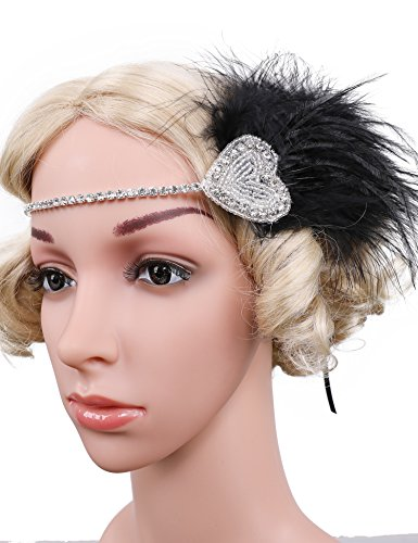 [Flapper Girl Black Headband, Feathered Headband, 1920s Flapper Headband, Roaring 20s Custom, Bridal Headband] (Roaring 20s Costumes Diy)
