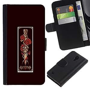 iBinBang / Flip Funda de Cuero Case Cover - Dagger Red Rose Vignette Poster Skull - Samsung Galaxy S4 IV I9500