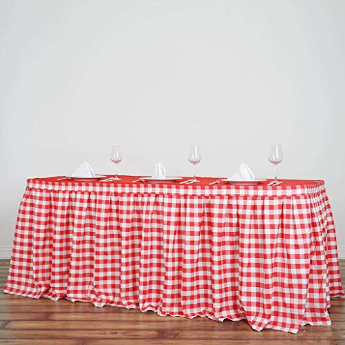 - Efavormart 21FT Perfect Picnic Inspired White/Red Checkered Polyester Table Skirt for Kitchen Dining Catering Wedding Decorations