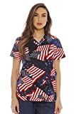 Dreamcrest Women's Scrub Tops / Holiday Scrubs / Nursing Scrubs, Flags, Medium