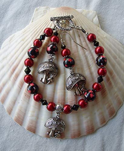 Mushroom Bracelet Earring Set Red & Black Glass ()