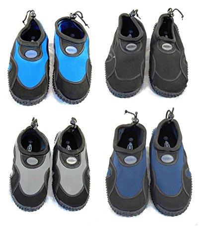 Azul Aqua zapatos de neopreno playa Rush Mens negro y gris oscuro