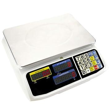 PrimeMatik - Balanza mostrador de sobremesa con Bandeja de 300x205 mm Báscula de Tienda de 6