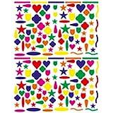 0327430 1584 gommettes etoiles coeur tulipes couleurs assorties