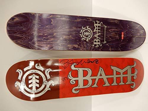 Skateboard Margera Bam Decks (Bam Margera Signed Element 8.0 Red Skateboard Deck Board Jackass 4moon Rare)