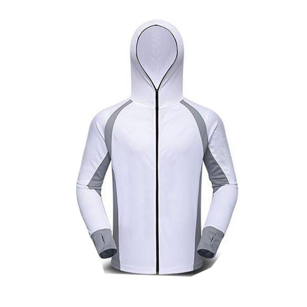 Qi Mai Men Outdoor Sunscreen Fishing Coats Quick Drying Rash Guards 1197 (L, White) by Qi Mai (Image #1)