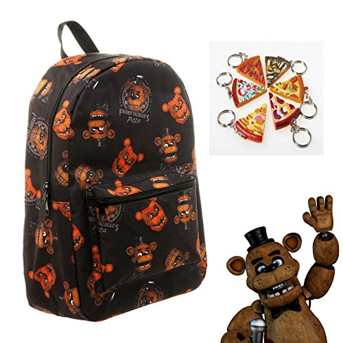 FNAF Five Nights at Freddy's Freddy Fazebear Pizza Large Backpack Bag & Keychain