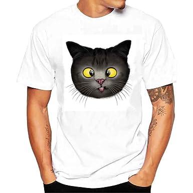 6a987afd1a0f Fxbar,Men's Tee Shirt Simple Cat Print Short-Sleeve T Shirt Crewneck Boy  Shirt Big and Tall